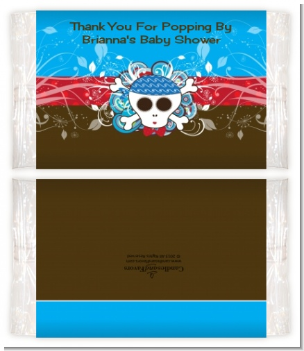Rock Star Baby Boy Skull - Personalized Popcorn Wrapper Baby Shower Favors