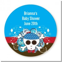 Rock Star Baby Boy Skull - Round Personalized Baby Shower Sticker Labels
