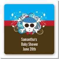 Rock Star Baby Boy Skull - Square Personalized Baby Shower Sticker Labels