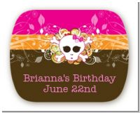 Rock Star Girl Skull - Personalized Birthday Party Rounded Corner Stickers