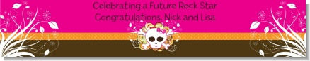 Rock Star Baby Girl Skull - Personalized Baby Shower Banners