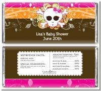 Rock Star Baby Girl Skull - Personalized Baby Shower Candy Bar Wrappers