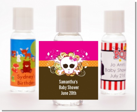 Rock Star Baby Girl Skull - Personalized Baby Shower Hand Sanitizers Favors