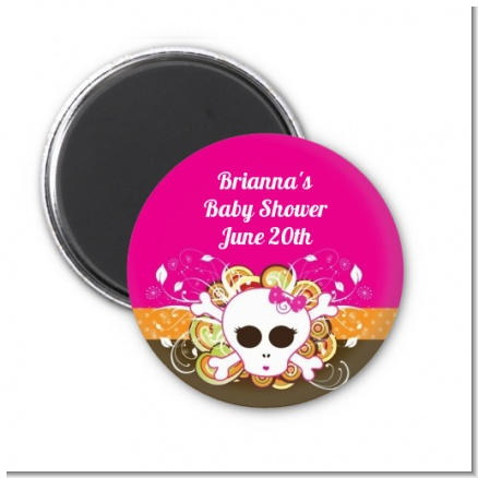 Rock Star Baby Girl Skull - Personalized Baby Shower Magnet Favors