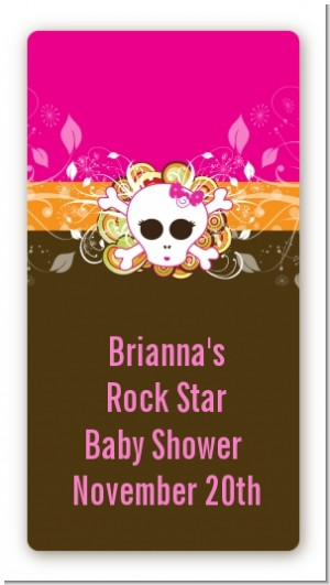 Rock Star Baby Girl Skull - Custom Rectangle Baby Shower Sticker/Labels