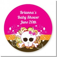 Rock Star Baby Girl Skull - Round Personalized Baby Shower Sticker Labels