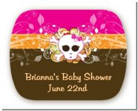 Rock Star Baby Girl Skull - Personalized Baby Shower Rounded Corner Stickers