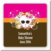 Rock Star Baby Girl Skull - Square Personalized Baby Shower Sticker Labels