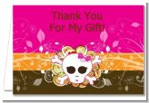 Rock Star Baby Girl Skull - Baby Shower Thank You Cards