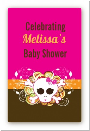 Rock star baby girl skull custom large rectangle baby shower sticker labels
