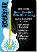 Rock Star Guitar Blue - Birthday Party Invitations