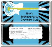 Rock Star Guitar Blue - Personalized Birthday Party Candy Bar Wrappers