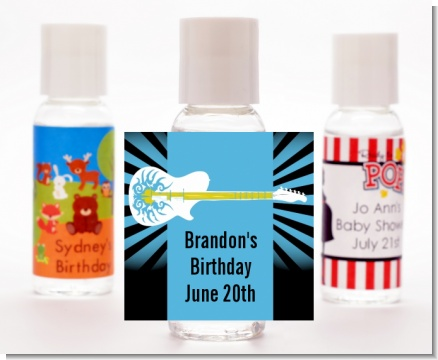 Rock Star Guitar Blue - Personalized Birthday Party Hand Sanitizers Favors