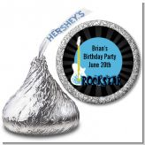 Rock Star Guitar Blue - Hershey Kiss Birthday Party Sticker Labels