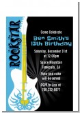 Rock Star Guitar Blue - Birthday Party Petite Invitations
