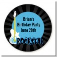 Rock Star Guitar Blue - Round Personalized Birthday Party Sticker Labels thumbnail