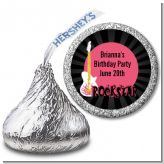Rock Star Guitar Pink - Hershey Kiss Birthday Party Sticker Labels