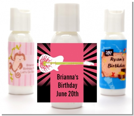 Rock Star Guitar Pink - Personalized Birthday Party Lotion Favors