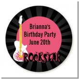 Rock Star Guitar Pink - Round Personalized Birthday Party Sticker Labels