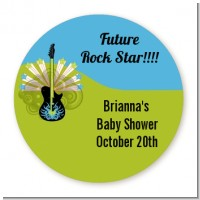 Future Rock Star Boy - Round Personalized Baby Shower Sticker Labels