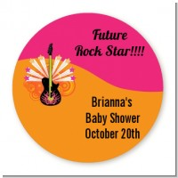 Future Rock Star Girl - Round Personalized Baby Shower Sticker Labels