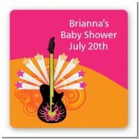 Future Rock Star Girl - Square Personalized Baby Shower Sticker Labels