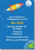 Rocket Ship - Birthday Party Invitations