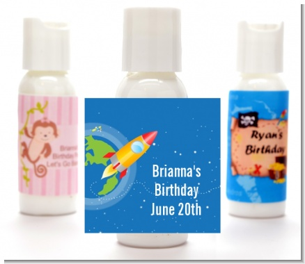 Rocket Ship - Personalized Birthday Party Lotion Favors