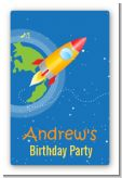 Rocket Ship - Custom Large Rectangle Birthday Party Sticker/Labels