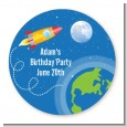 Rocket Ship - Round Personalized Birthday Party Sticker Labels thumbnail