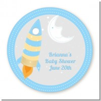 Rocket Ship - Round Personalized Baby Shower Sticker Labels