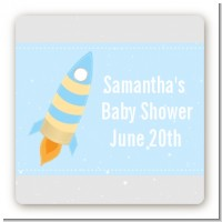 Rocket Ship - Square Personalized Baby Shower Sticker Labels