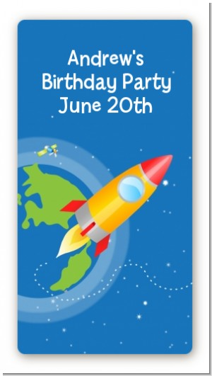 Rocket Ship - Custom Rectangle Birthday Party Sticker/Labels