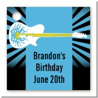 Rock Star Guitar Blue - Personalized Birthday Party Card Stock Favor Tags