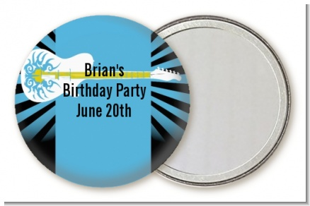 Rock Star Guitar Blue - Personalized Birthday Party Pocket Mirror Favors