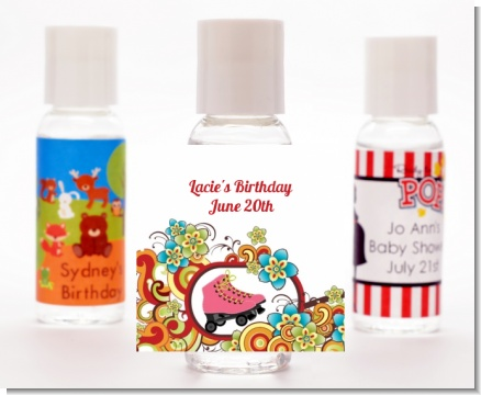 Roller Skating - Personalized Birthday Party Hand Sanitizers Favors