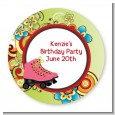 Roller Skating - Round Personalized Birthday Party Sticker Labels thumbnail