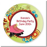 Roller Skating - Round Personalized Birthday Party Sticker Labels