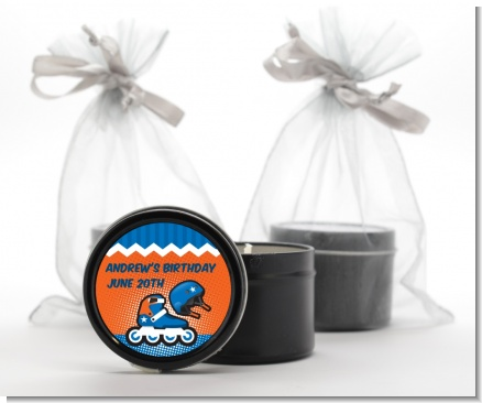 Rollerblade - Birthday Party Black Candle Tin Favors