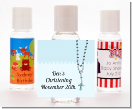Rosary Beads Blue - Personalized Baptism / Christening Hand Sanitizers Favors