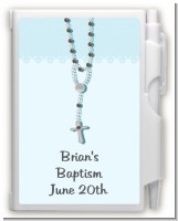 Rosary Beads Blue - Baptism / Christening Personalized Notebook Favor