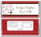 Rosary Beads Maroon - Personalized Baptism / Christening Candy Bar Wrappers
