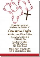 Rosary Beads Maroon - Baptism / Christening Invitations