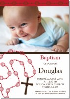 Rosary Beads Maroon Baptism Photo - Baptism / Christening Invitations
