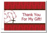 Rosary Beads Maroon - Baptism / Christening Thank You Cards