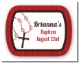 Rosary Beads Maroon - Personalized Baptism / Christening Rounded Corner Stickers thumbnail