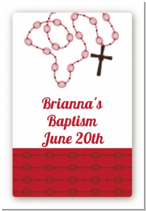 Rosary Beads Maroon - Custom Large Rectangle Baptism / Christening Sticker/Labels