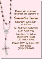 Rosary Beads Pink - Baptism / Christening Invitations