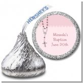 Rosary Beads Pink - Hershey Kiss Baptism / Christening Sticker Labels