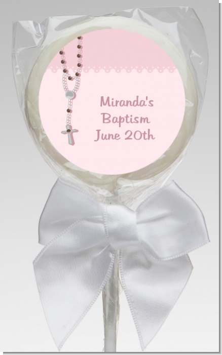 Rosary Beads Pink - Personalized Baptism / Christening Lollipop Favors